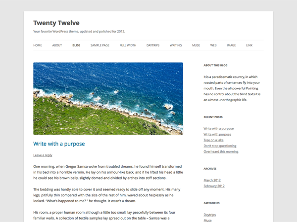 wordpress theme 2012